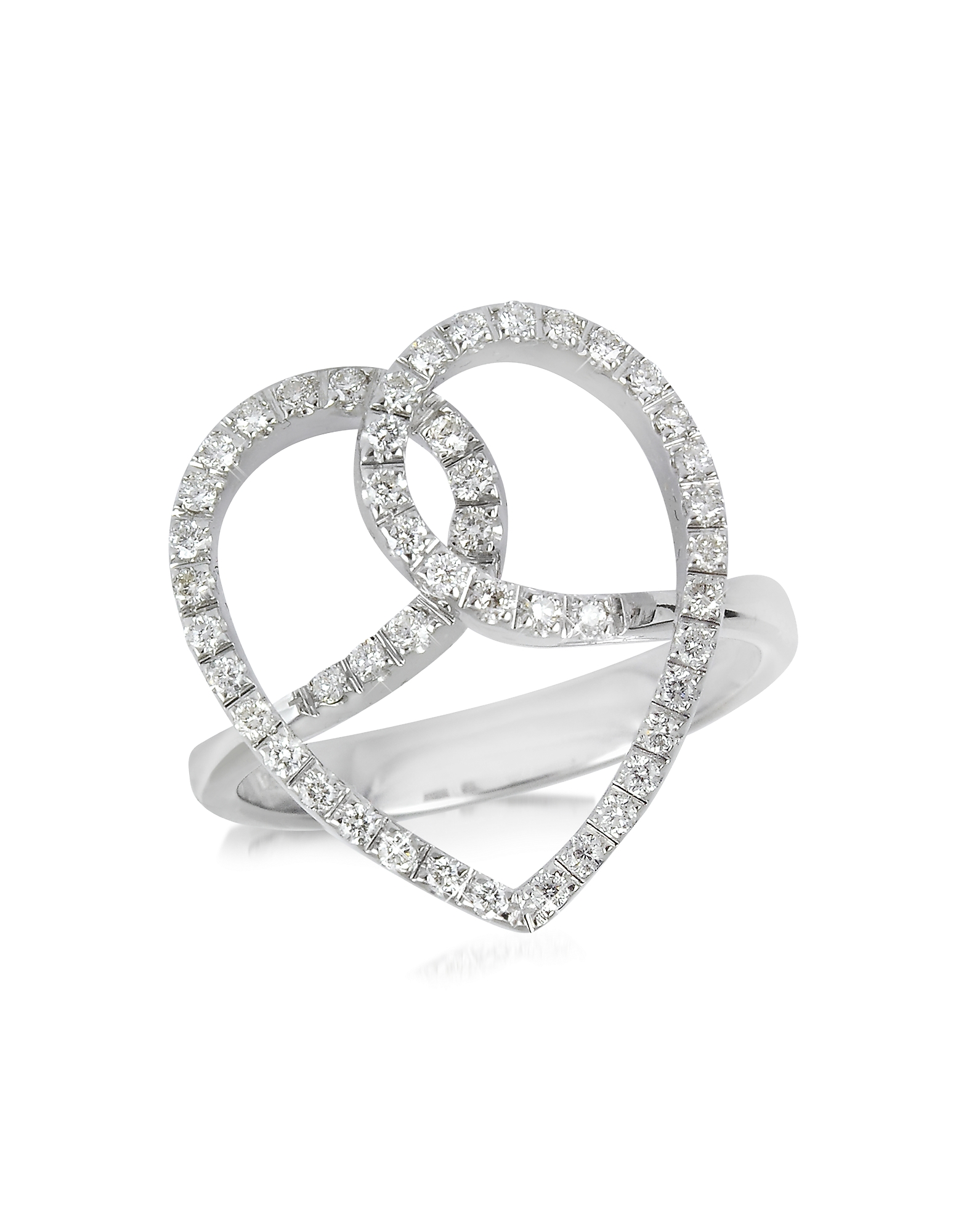 Forzieri Rings, Diamond Crossing Heart 18K White Gold Ring