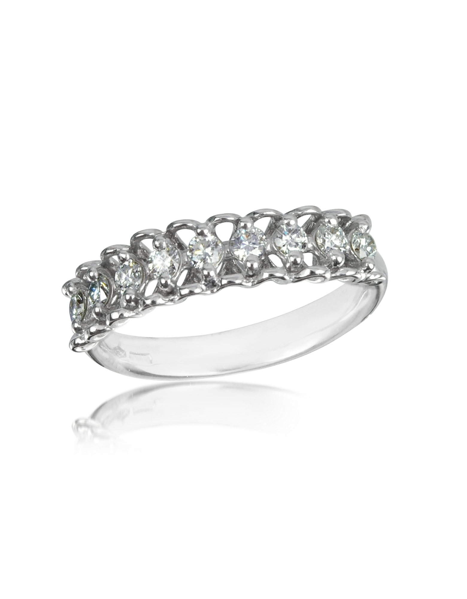 Forzieri Rings, 0.37 ctw Nine-Stone Diamond 18K White Gold Ring