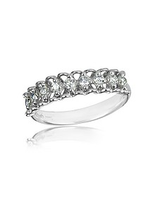 0.37 ctw Nine-Stone Diamond 18K White Gold Ring - Forzieri