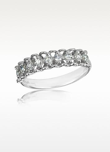 0.37 ctw Nine-Stone Diamond 18K White Gold Ring - Forzieri