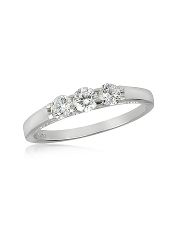 Forzieri - 0.49 ctw 18K White Gold Diamond Trilogy Ring