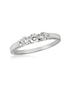 0.49 ctw 18K White Gold Diamond Trilogy Ring - Forzieri