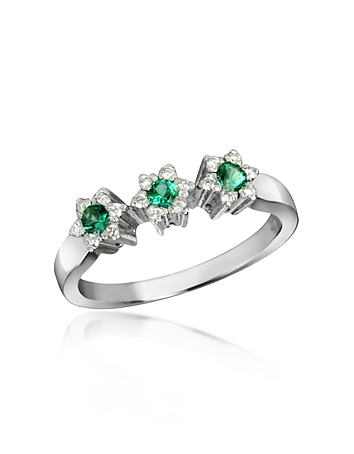 Incanto Royale - 18K Gold Emerald and Diamond Trilogy Flower Ring