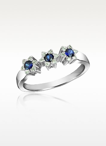 Sapphire and Diamond 18K Gold Ring - Incanto Royale