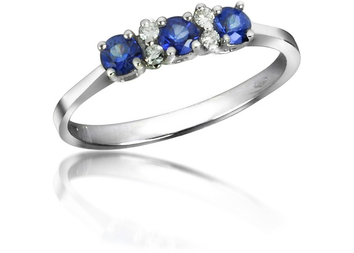 Sapphires and Diamond 18K Gold Ring - Incanto Royale