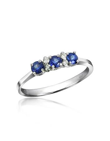 Inel din aur alb INCANTO ROYALE, cu safir și diamante, 18 k