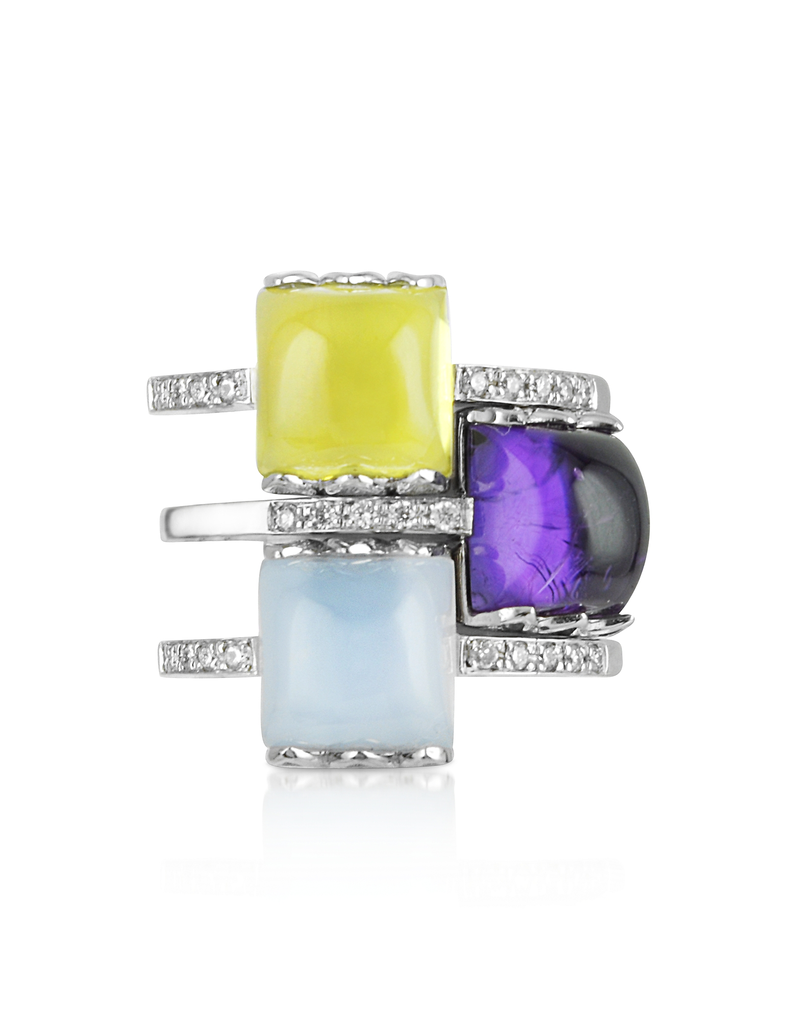 Mia & Beverly Rings, Gemstone and Diamond 18K White Gold Ring