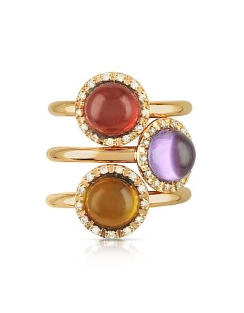 Mia & Beverly - Gemstone and Diamond 18K Rose Gold Ring