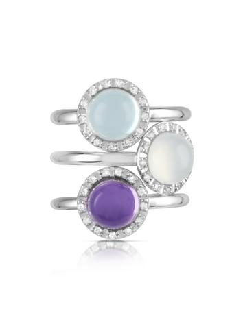 Gemstone and Diamond 18K White Gold Ring