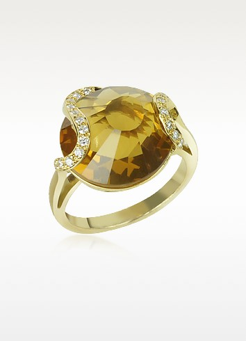 Citrine and Diamond 18K Gold Ring - Incanto Royale