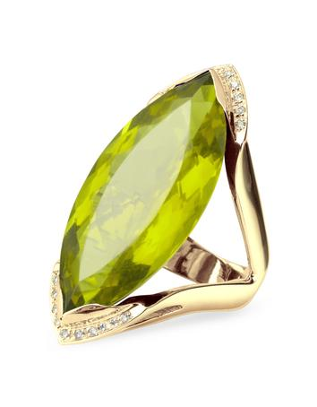 Green Gemstone and Diamond Yellow Gold Fashion Ring