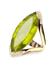 Green Gemstone and Diamond Yellow Gold Fashion Ring - Forzieri
