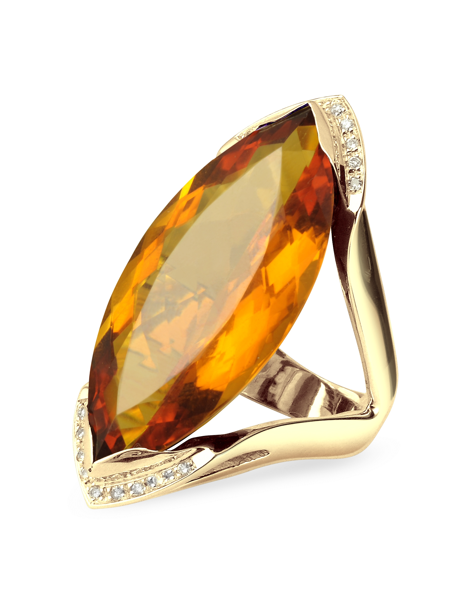 Forzieri Rings, Orange Gemstone and Diamond Yellow Gold Fashion Ring