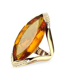 Orange Gemstone and Diamond Yellow Gold Fashion Ring - Forzieri