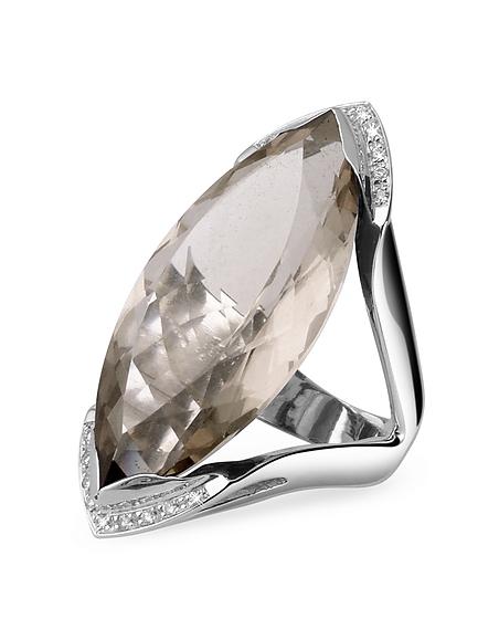 Forzieri Bague en or blanc avec quartz fumé et diamants