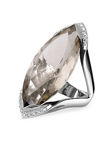 Smokey Quartz and Diamond White Gold Fashion Ring - Forzieri