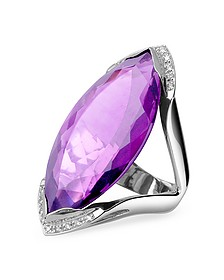 Amethyst and Diamond White Gold Fashion Ring - Forzieri