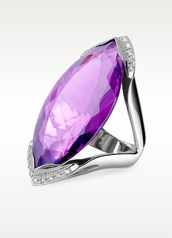 Amethyst and Diamond White Gold Fashion Ring - Forzieri