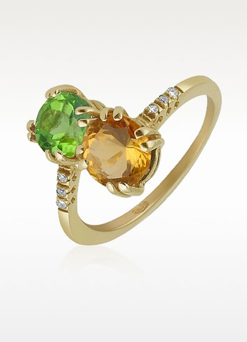 Forzieri Кольцо из Желтого Золота с Двумя Камнями и Бриллиантами