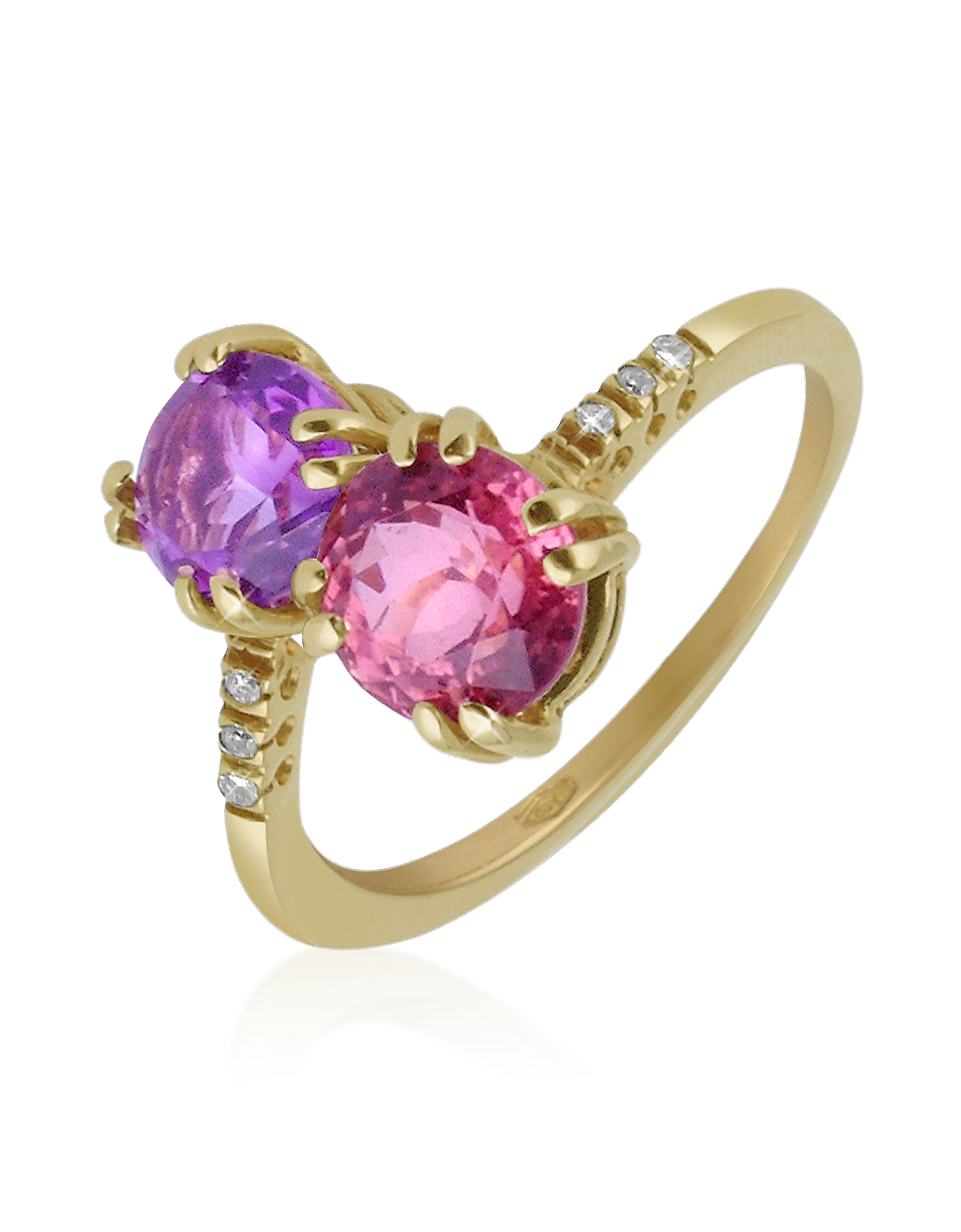 Forzieri Rings, Double Gemstone and Diamond Yellow Gold Ring