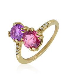 Double Gemstone and Diamond Yellow Gold Ring - Forzieri