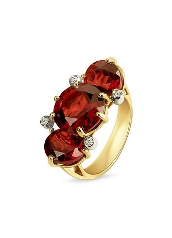 Forzieri Diamond and Garnet Three-stone 18K Gold Ring