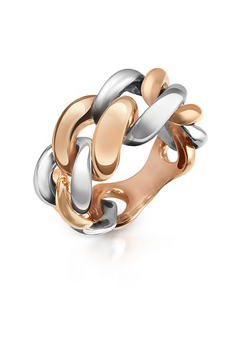 Forzieri Two-tone 18K Gold Gourmette Ring :  luxury fashion accessories forzieri jewelry