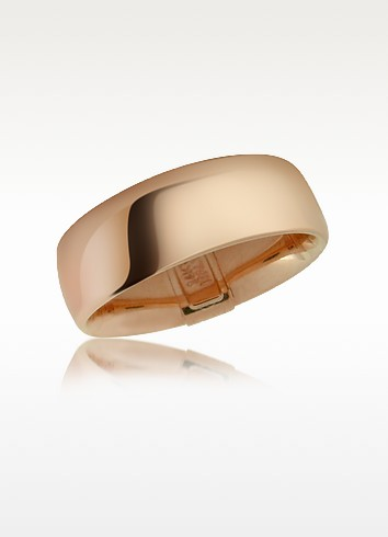 Smooth 14K Hollow Rose Gold Band Ring - Forzieri