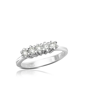 Forzieri - 0.225 ct Diamond 18K Gold Band Ring