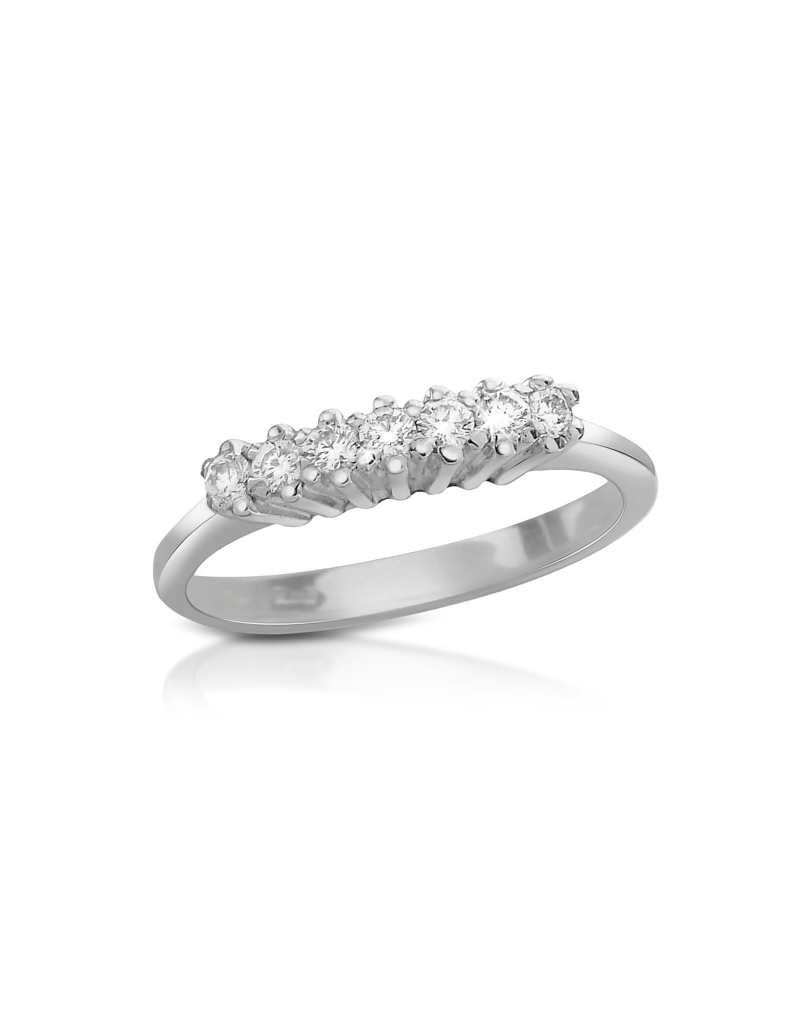 Forzieri Rings, 0.10 ct Diamond 18K Gold Band Ring