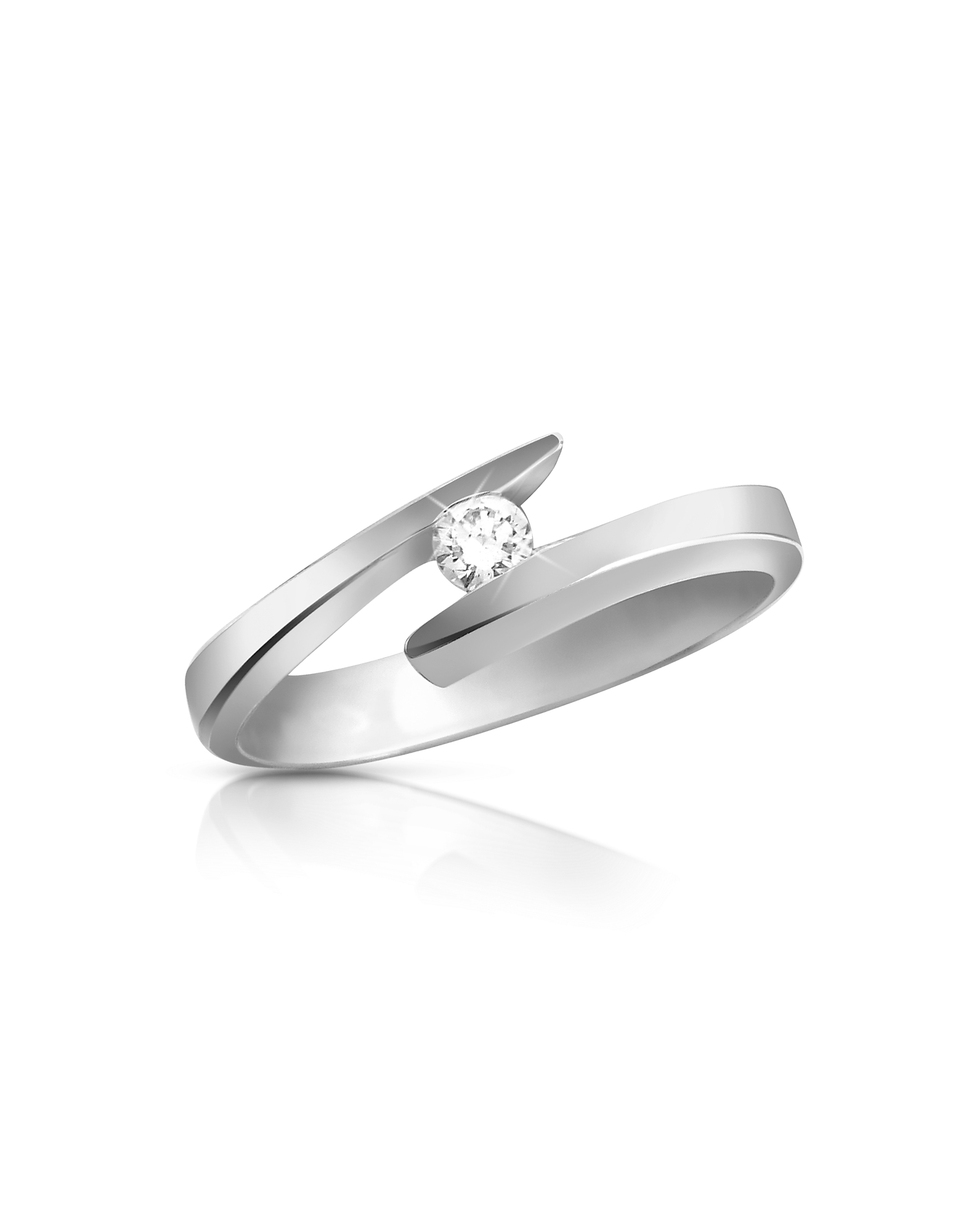 Forzieri Rings, 0.065 ct Diamond 18K Gold Solitaire Ring