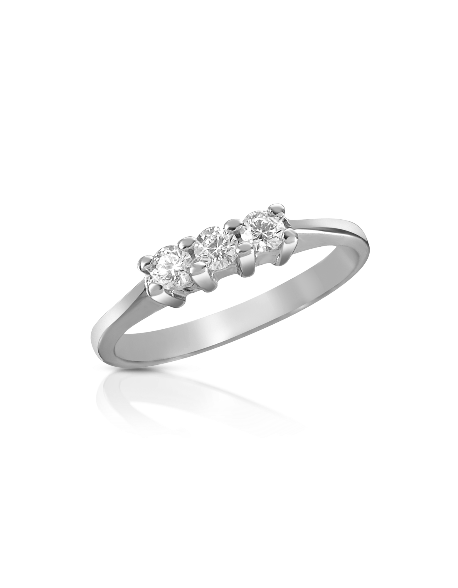 Image of 0.10 ct Three-Stone Diamond 18K Gold Ring