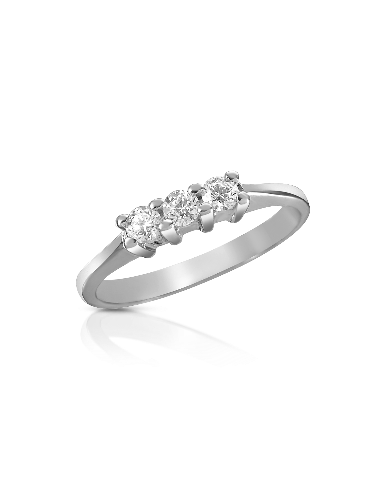 Forzieri Rings, 0.10 ct Three-Stone Diamond 18K Gold Ring