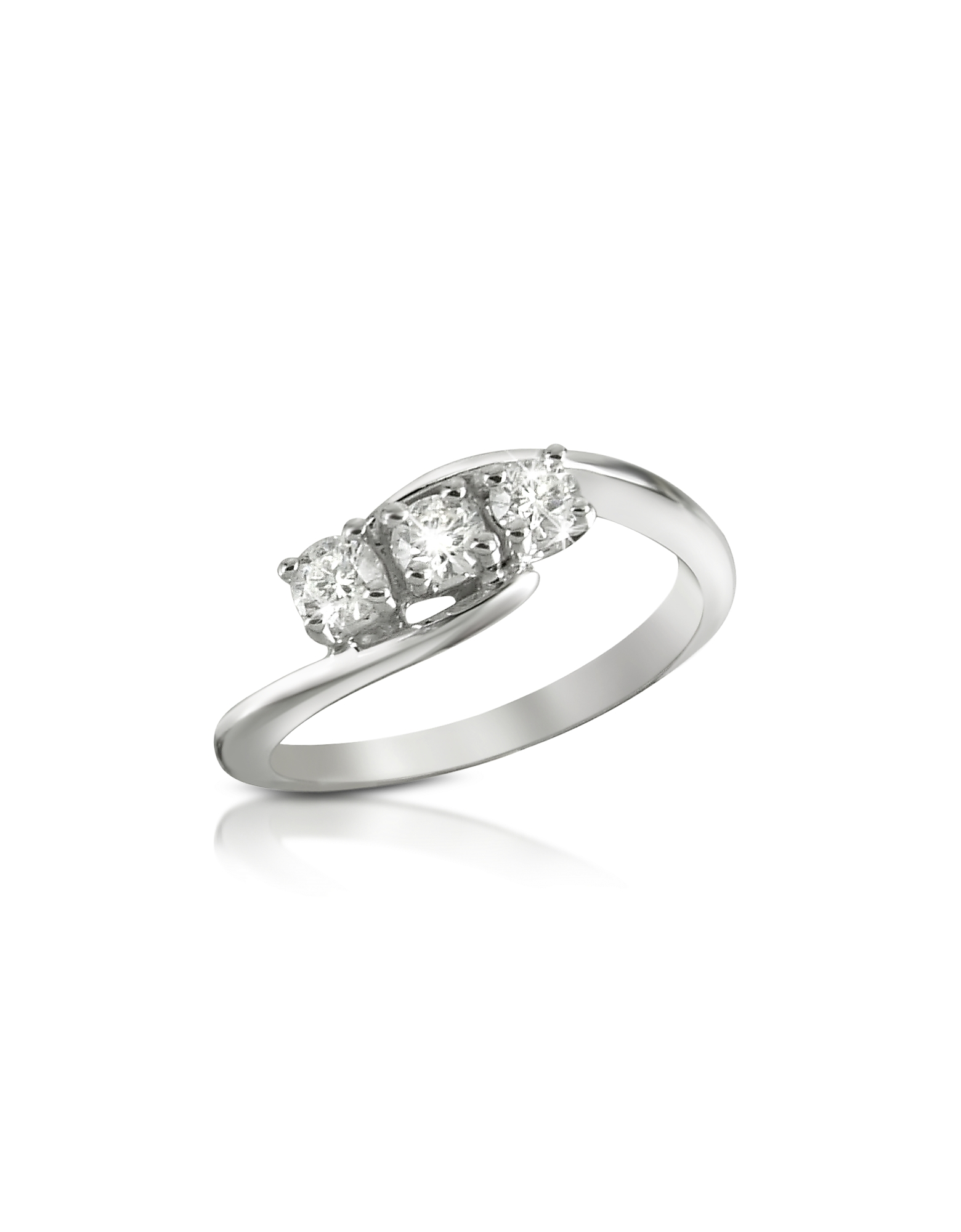 Forzieri Rings, 0.315 ct Three-Stone Diamond 18K Gold Ring