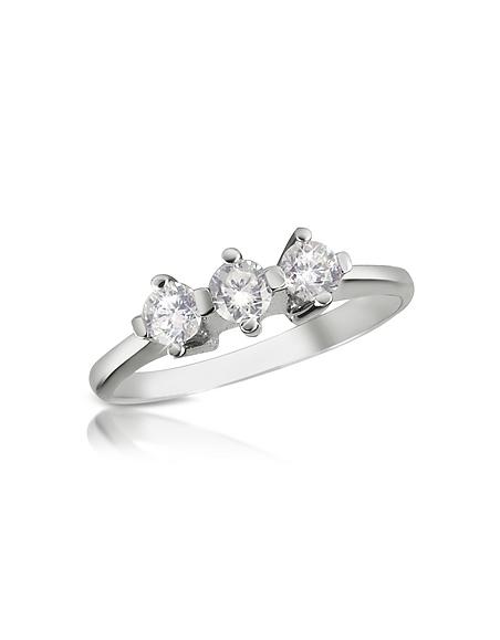Forzieri Princess - Ring aus 18k Weißgold mit drei Diamanten