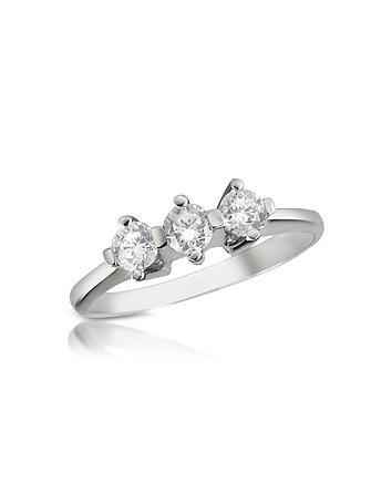 Forzieri - 0.29 ct Three-Stone Diamond 18K Gold Ring