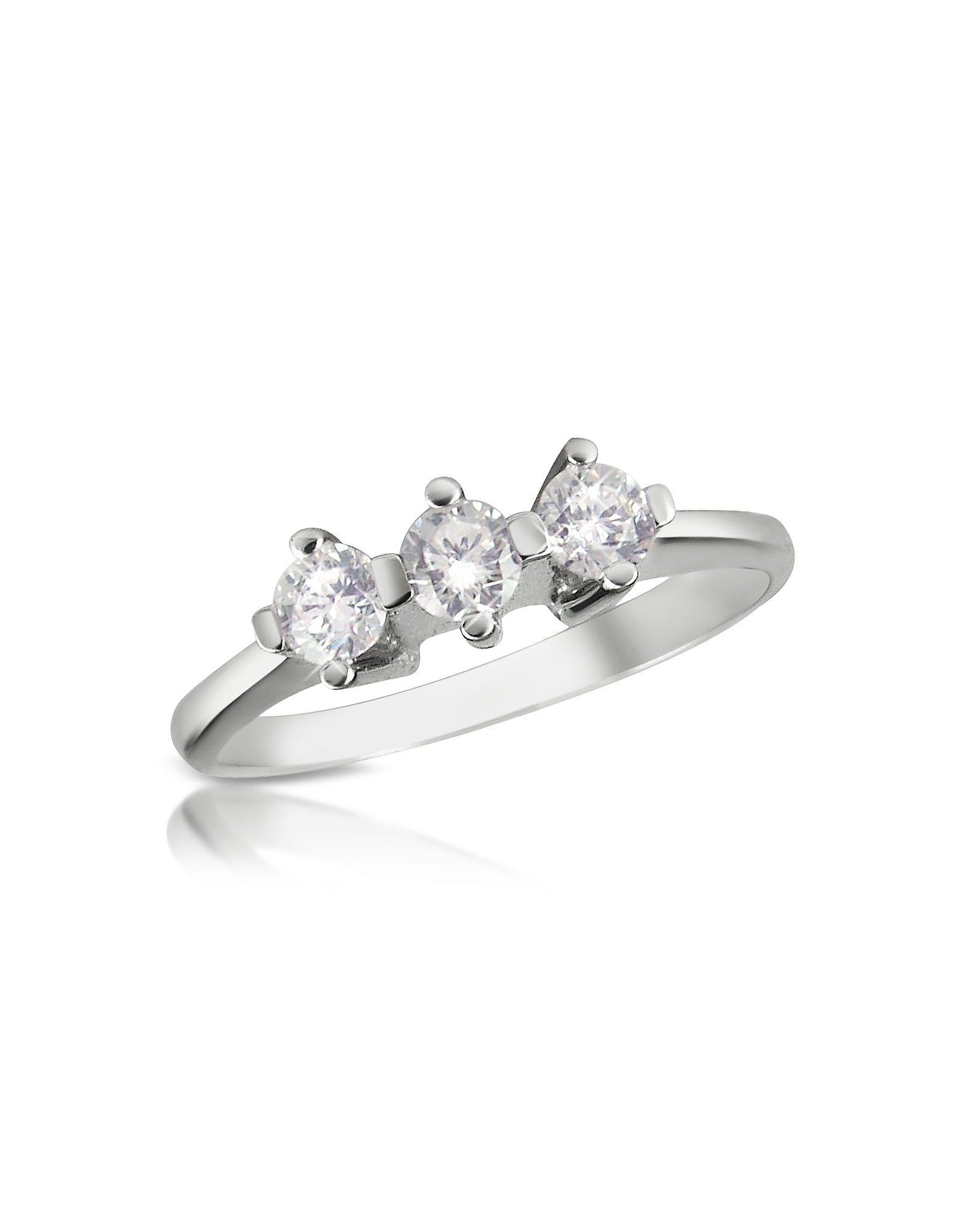 Forzieri Rings, 0.29 ct Three-Stone Diamond 18K Gold Ring