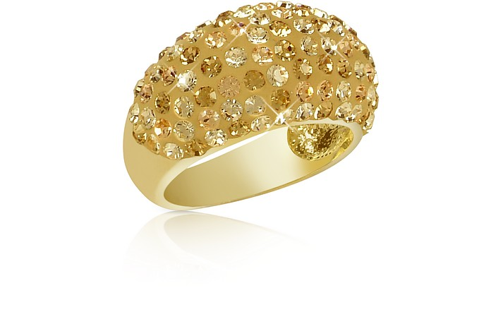 Fantasmania - Gold Crystal Wide Band Ring - Gisèle St.Moritz
