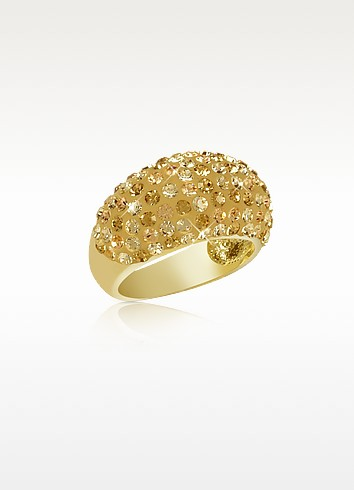 Fantasmania - Gold Crystal Wide Band Ring - Gisèle St.Moritz