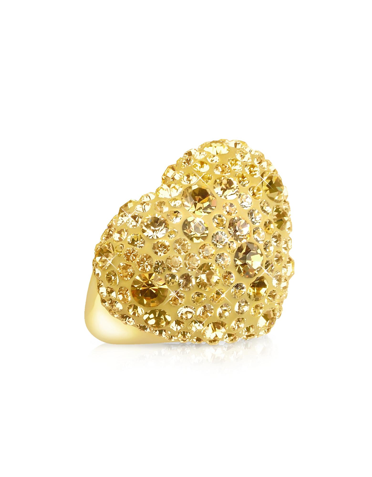 Phantasya Line - Кольцо с Большим Золотистым Сердцем и Кристаллами