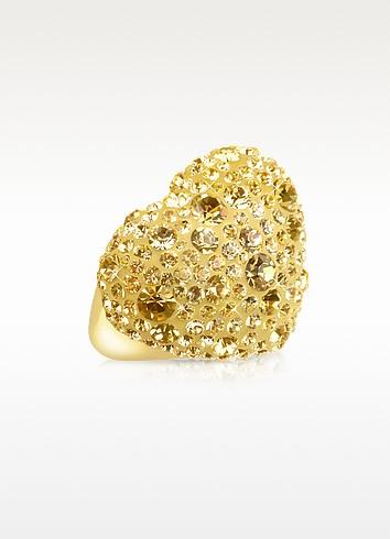 Gisele St.Moritz Phantasya Line - Кольцо с Большим Золотистым Сердцем и Кристаллами
