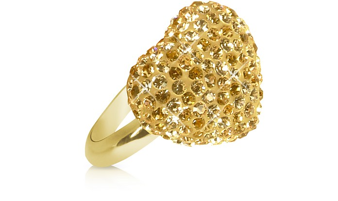 Fantasmania - Gold Crystal Heart Ring - Gisèle St.Moritz