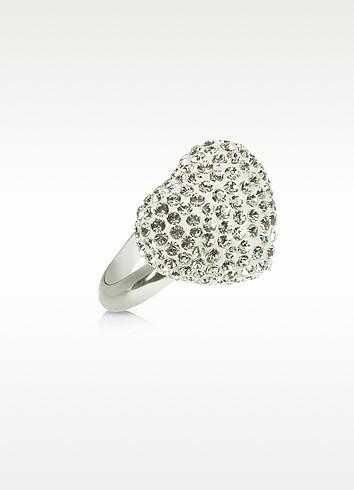 Fantasmania - White Crystal Heart Ring - Gisèle St.Moritz