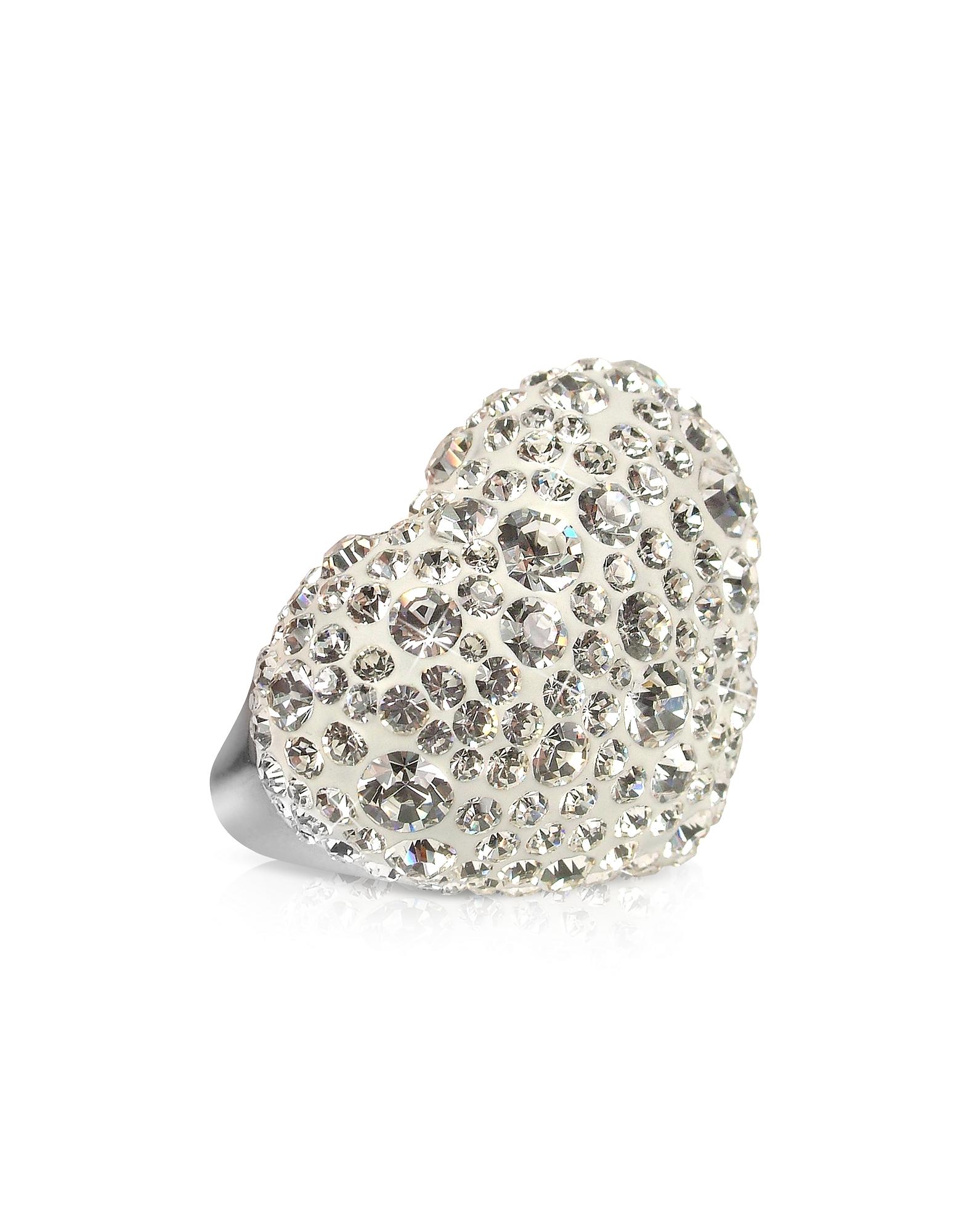Phantasya Line - Большое Кольцо-Сердце с Белыми Кристаллами