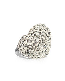 Fantasmania - White Crystal Big Heart Ring - Gisèle St.Moritz