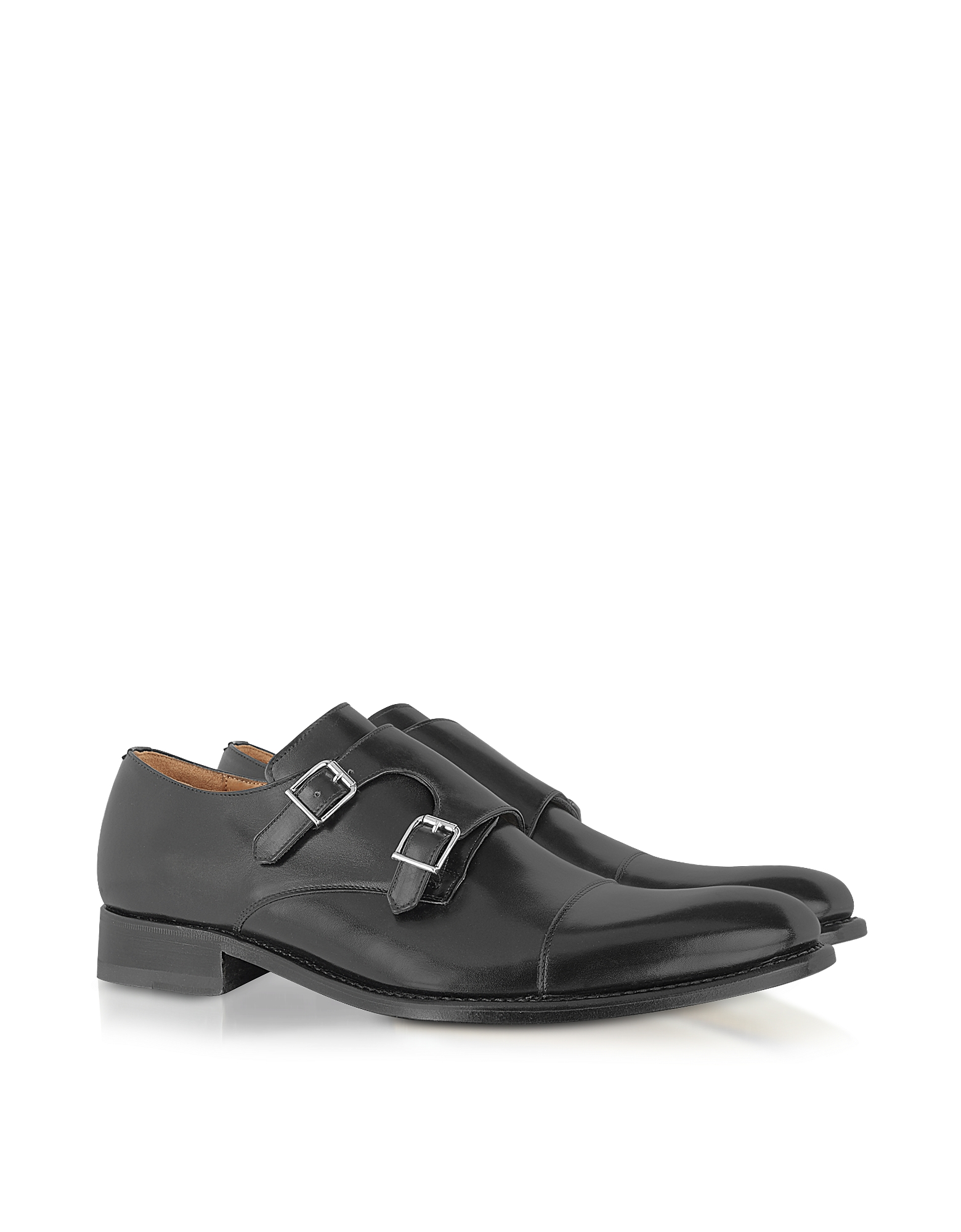 Forzieri Shoes, Italian Handcrafted Black Leather Monk Strap Shoes
