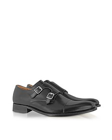Italian Handcrafted Black Leather Monk Strap Shoes - Forzieri