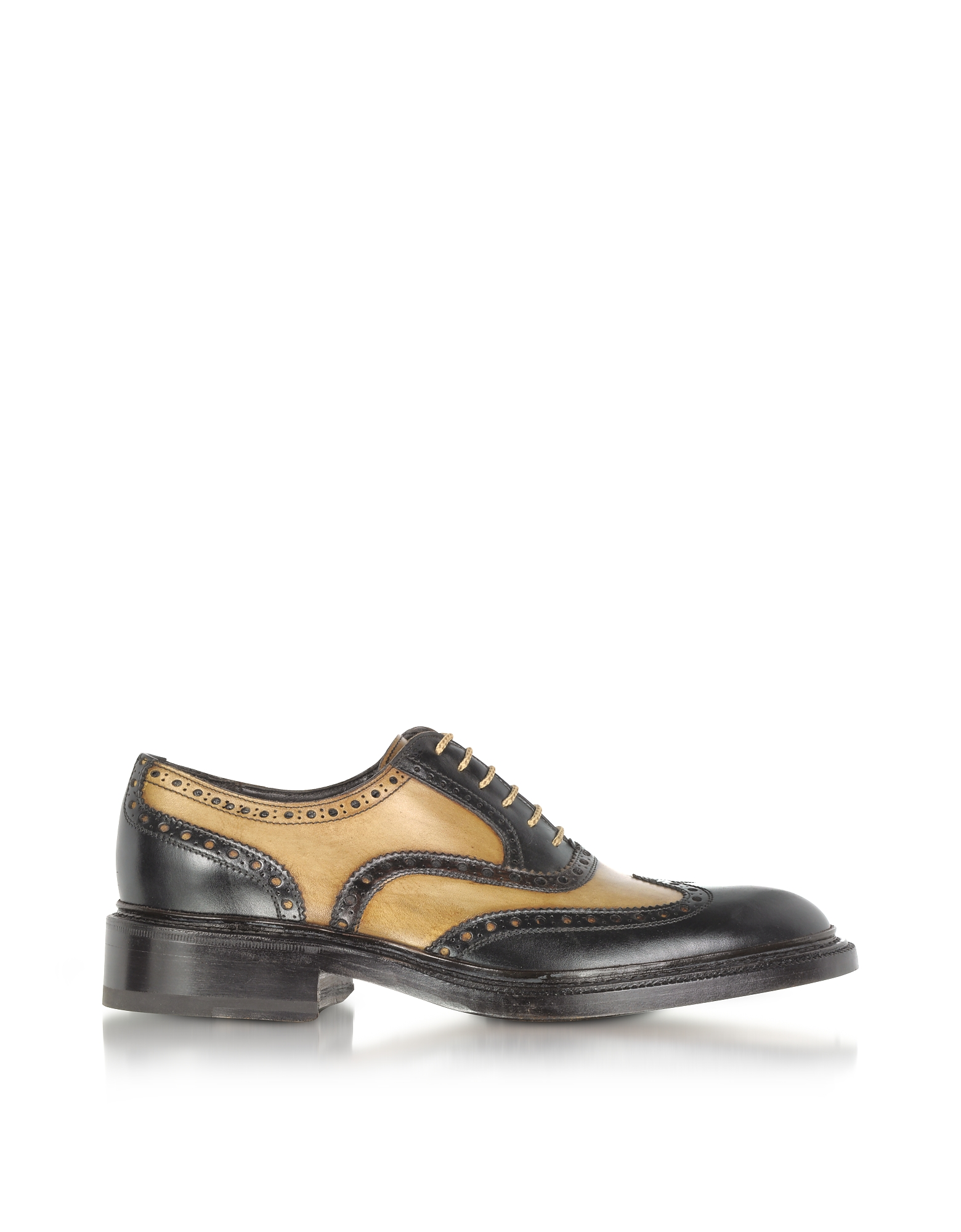 Forzieri Shoes, Italian Handcrafted Two-tone Wingtip Oxford Shoes