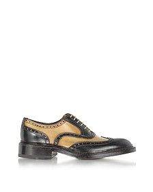 Italian Handcrafted Two-tone Wingtip Oxford Shoes - Forzieri