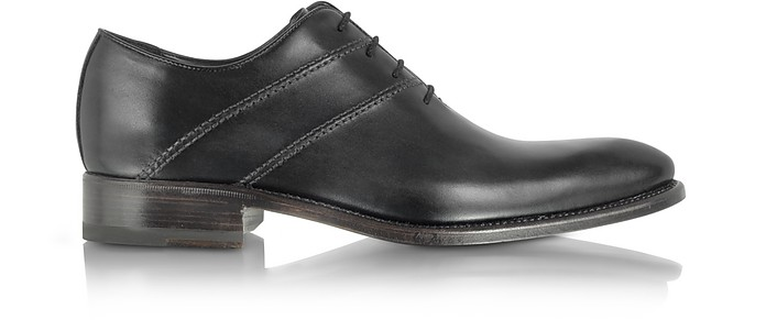 Black Italian Handcrafted Leather Oxford Dress Shoes - Forzieri